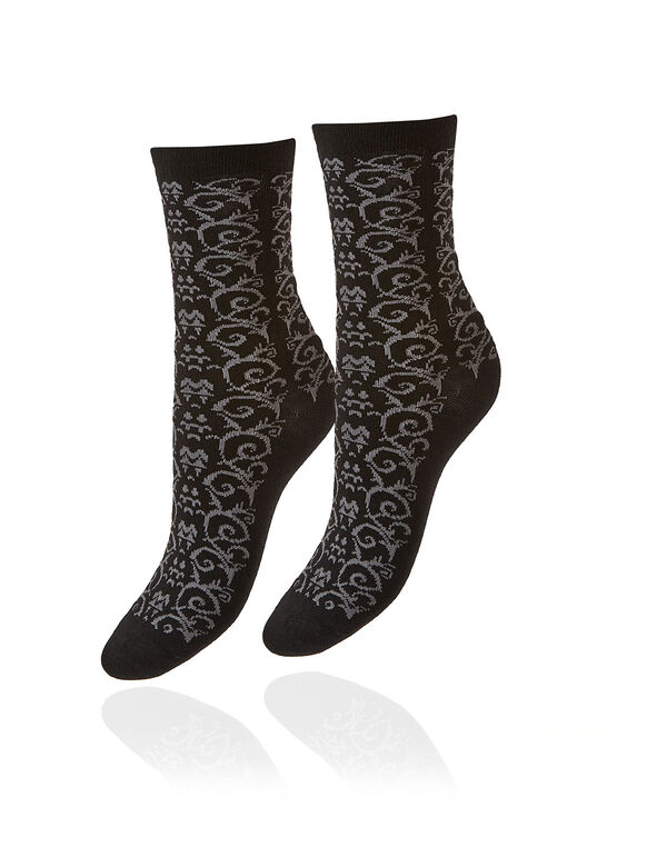 Black Patterned Crew Sock, Black, hi-res