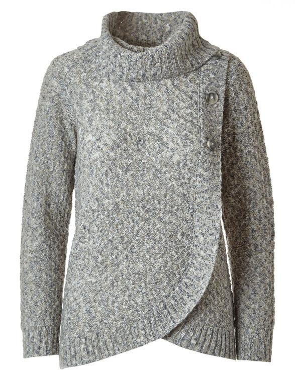 Neutral Button Wrap Sweater, Neutral, hi-res