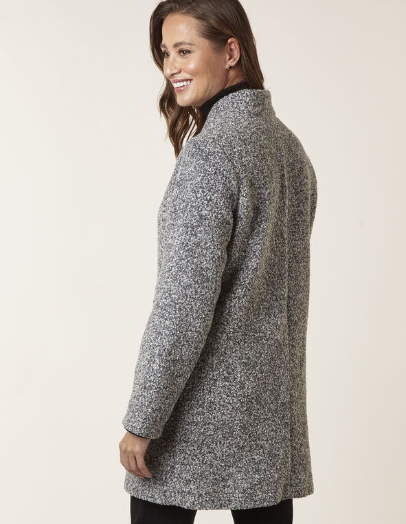 Grey Unlined Boucle Mix Topper, Grey, hi-res