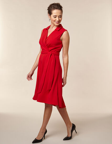 Poppy Collared Crepe Dress, Red/Poppy, hi-res