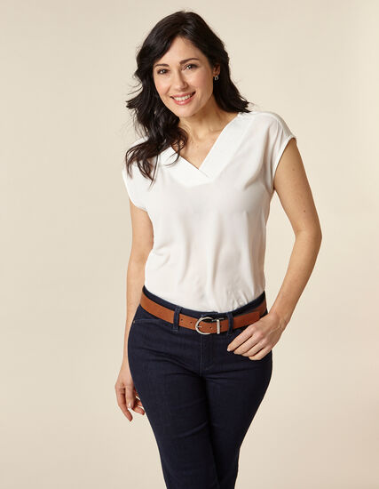 Ivory Bubble Crepe Top, Ivory, hi-res