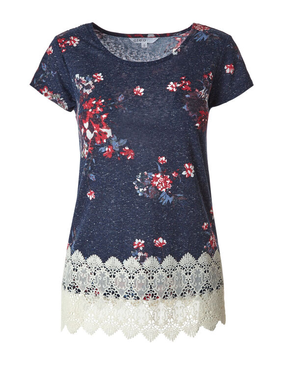 Navy Floral Crochet Hem Top, Navy, hi-res
