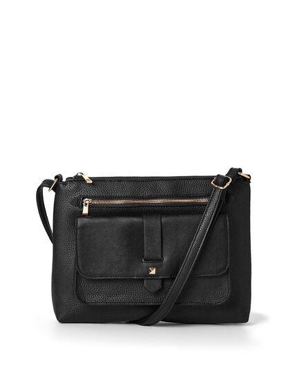 Black Flap Cross Body Bag, Black, hi-res
