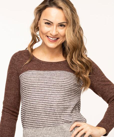 Colour Block Lightweight Knit Top, Chocolate/Heather Grey, hi-res