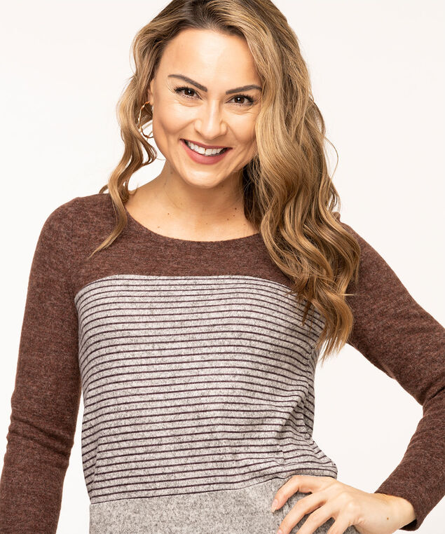 Colour Block Lightweight Knit Top, Chocolate/Heather Grey