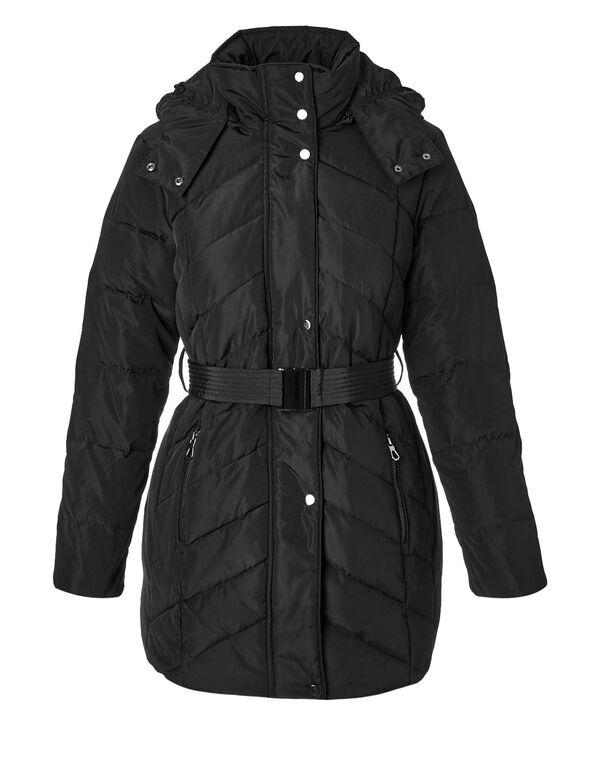 Black Short Belted Down Jacket, Black, hi-res