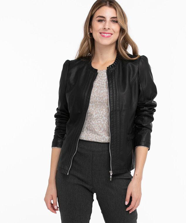 Vegan Leather Ruffle Jacket, Black