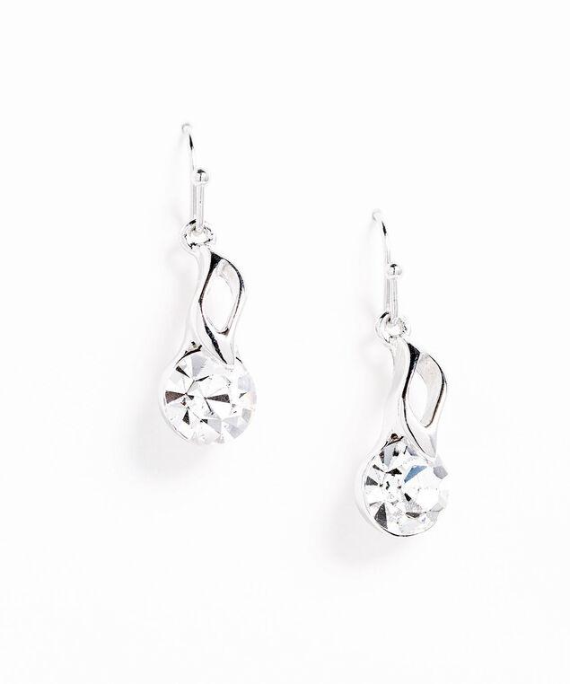 Genuine Crystal Spiral Drop Earring, Silver