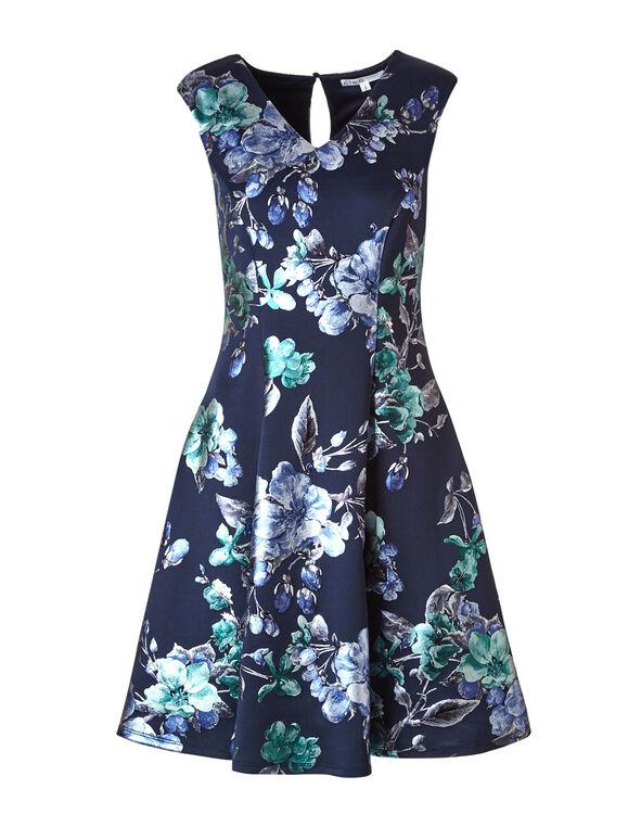 Blue Floral Fit & Flare Dress, Blue, hi-res