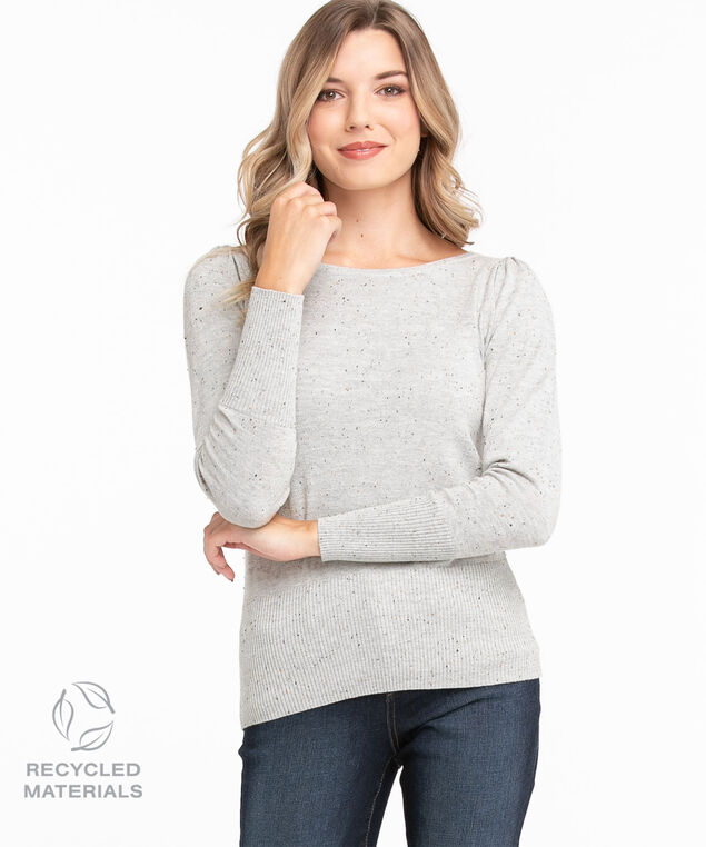Recycled Boat Neck Pullover Sweater, Grey Speckle