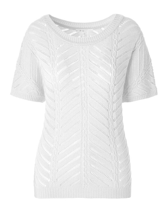 White Open Stitch Pullover, White, hi-res