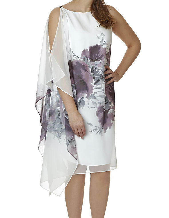 White Floral One Shoulder Dress, Purple, hi-res