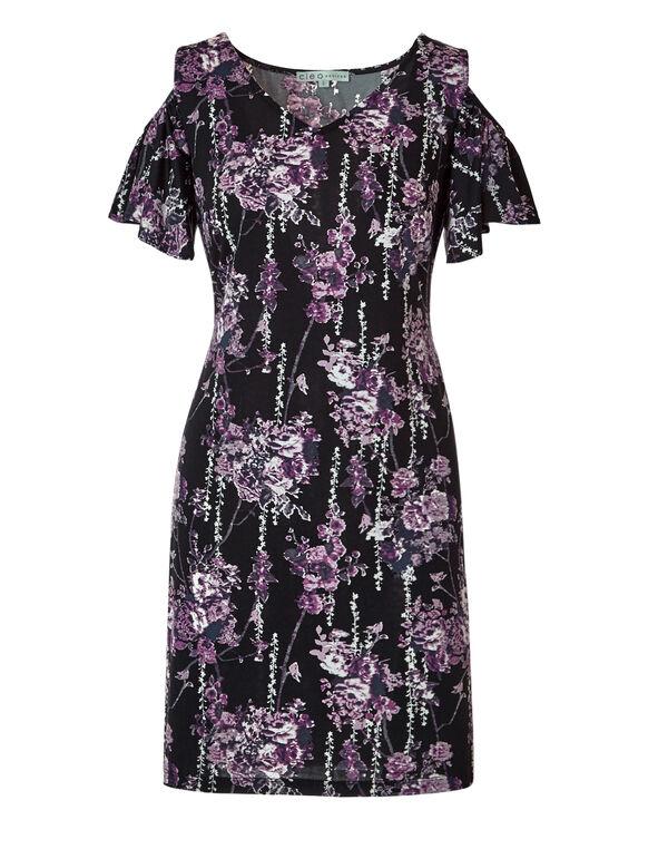 Purple Floral Dress, Black/Purple/White/Tangled Plum, hi-res