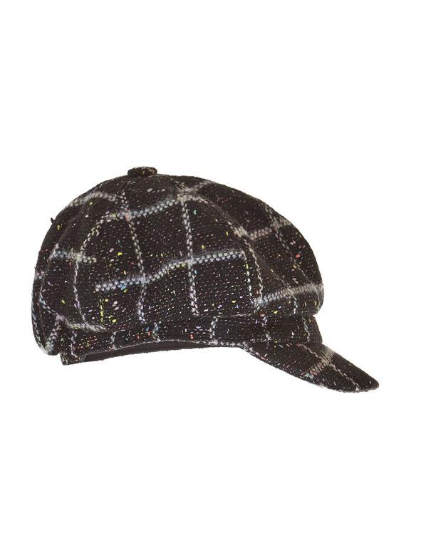 Black Colour Fleck Cabby Hat, Black, hi-res