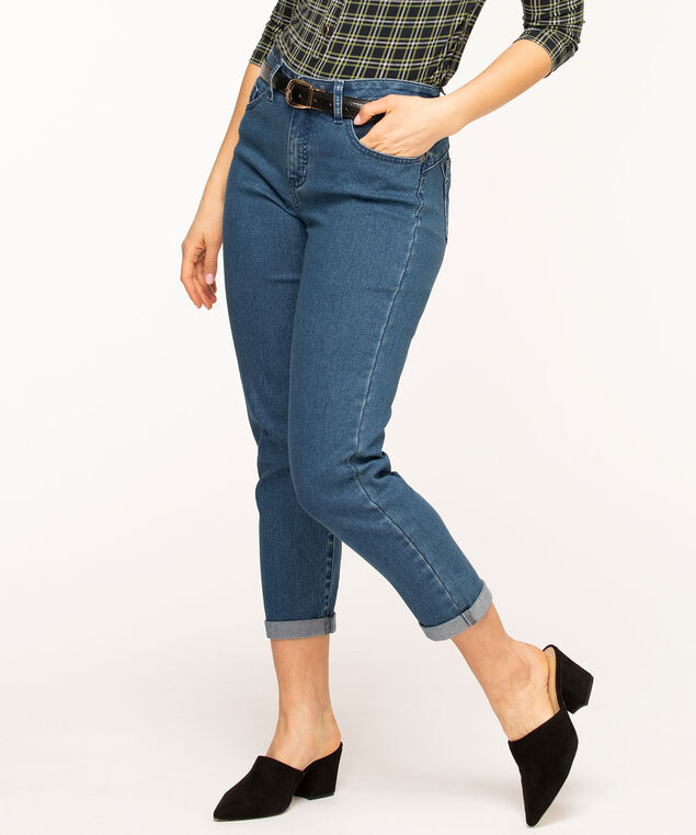 Mid Wash Butt Lift Slim Ankle Jean, Mid Wash