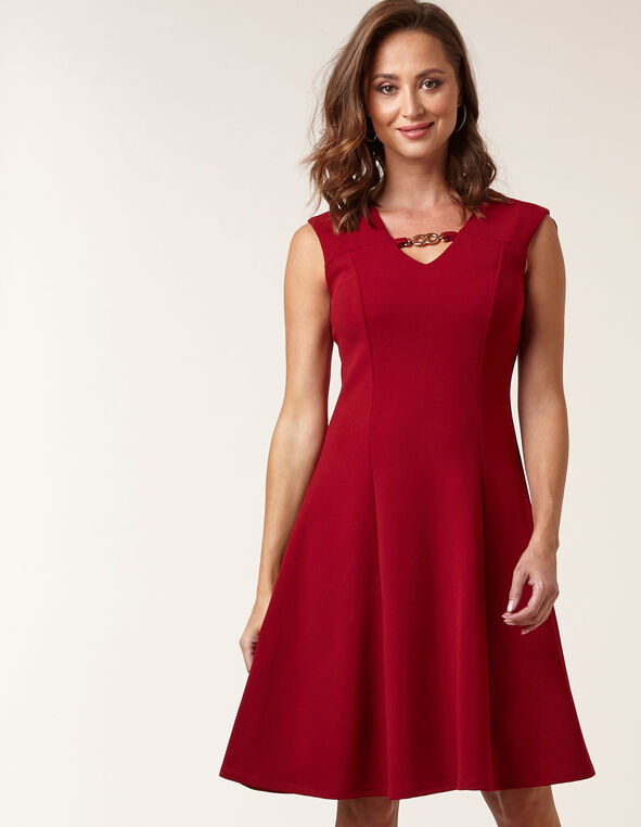 Red Crepe Fit & Flare Dress, Red, hi-res