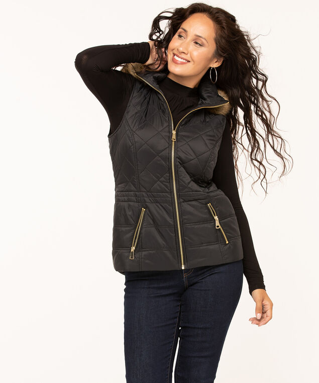 Black Hooded Quilted Vest, Black, hi-res