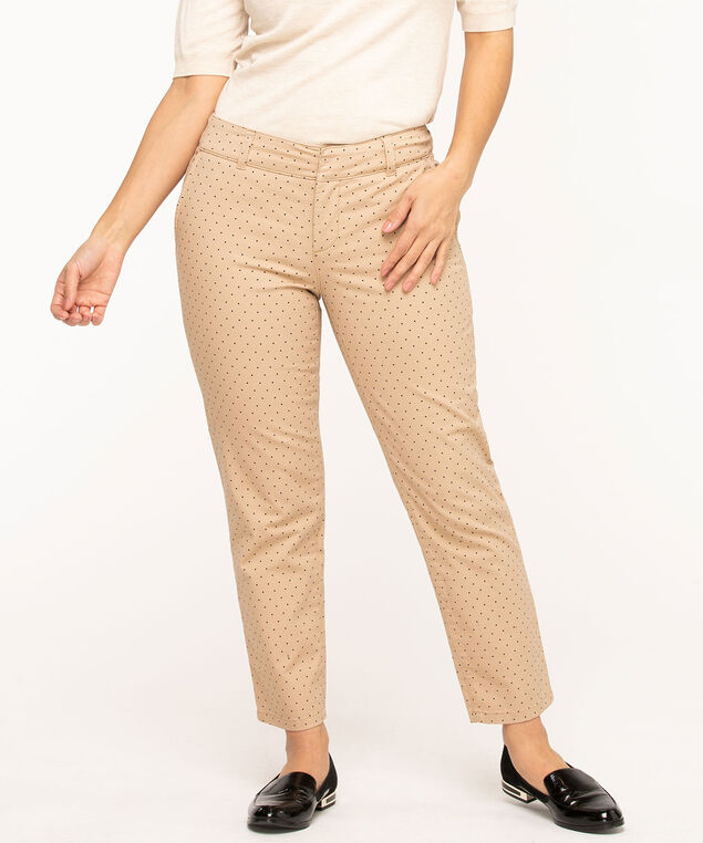 Slim Cotton Chino Ankle Pant, Beige/Black Dot