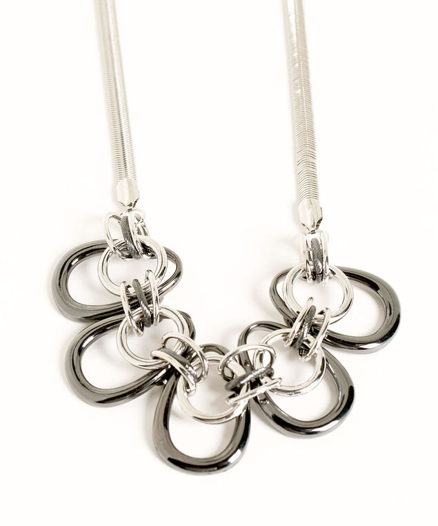 Interlocking Silver Circle Necklace, Silver/Rhodium, hi-res