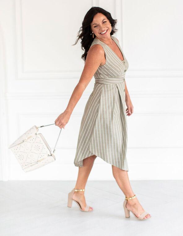 Olive Striped Shirt Dress, Olive, hi-res