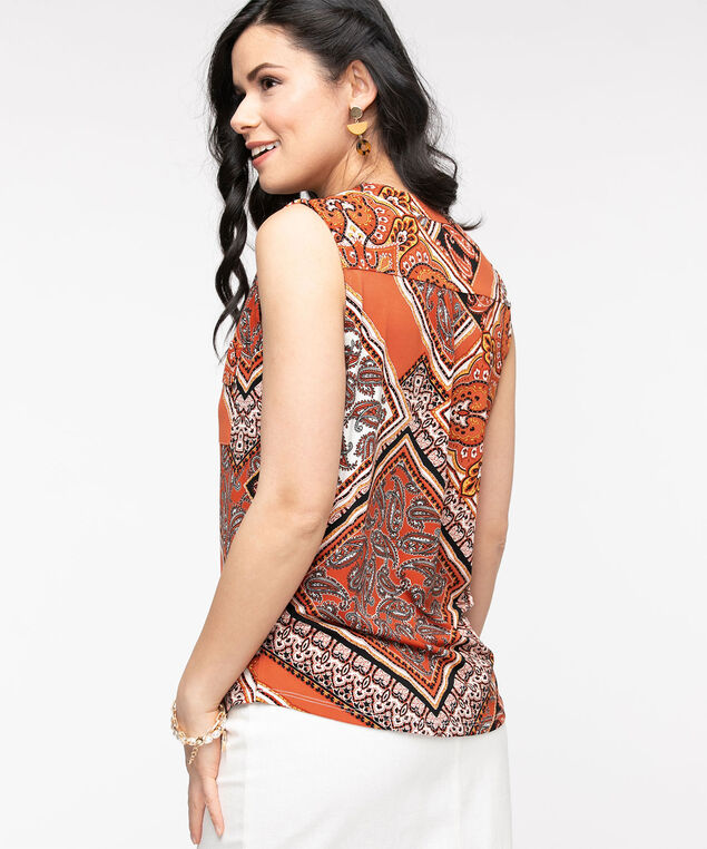 Sleeveless Y-Neck Knit Top, Rust Paisley