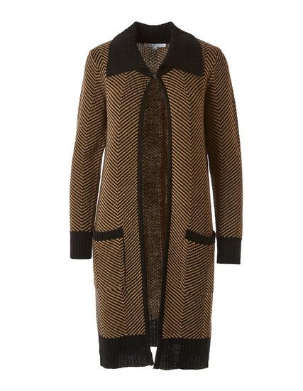 Black Chevron Sweater Coat, Black, hi-res