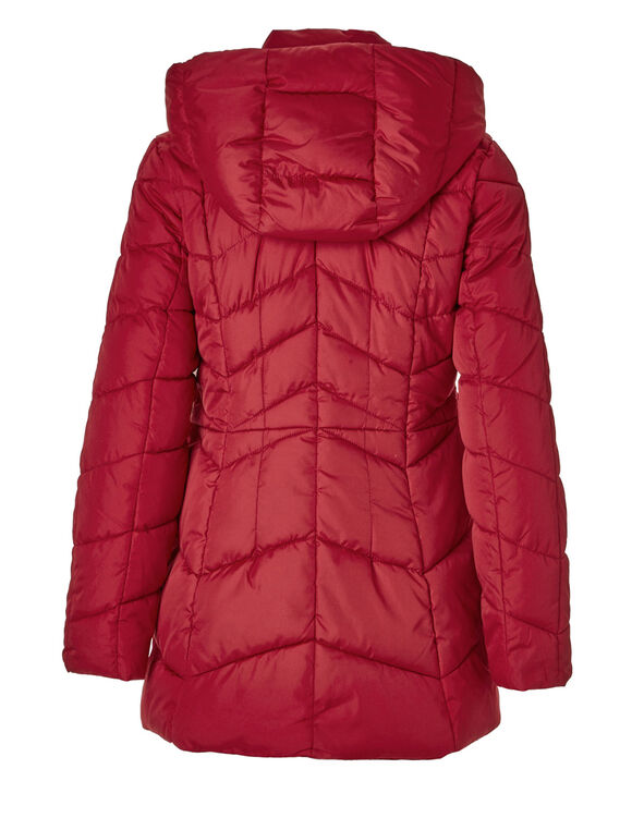 Red Short Faux Down Coat, Red, hi-res