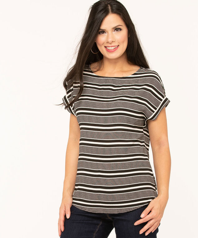 Short Sleeve Scoop Neck Blouse, Black/White, hi-res