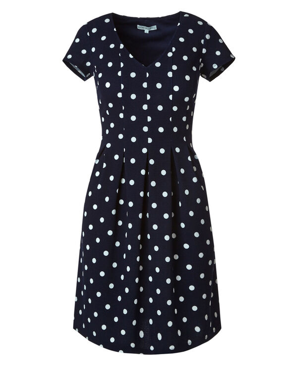 Navy Polka Dot Knit Dress, Navy, hi-res