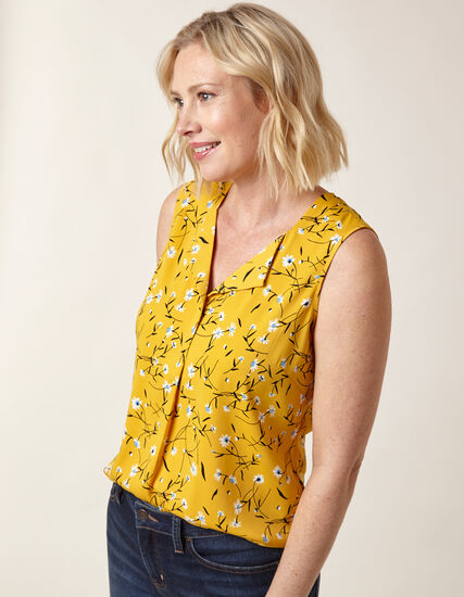 Saffron Floral Sleeveless Blouse, Yellow P, hi-res