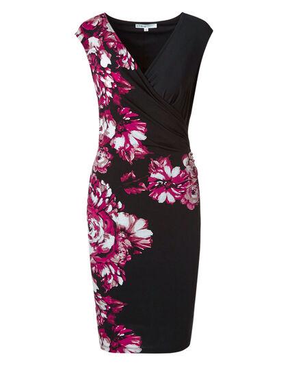 Black Floral Wrap Dress, Black/Pink, hi-res