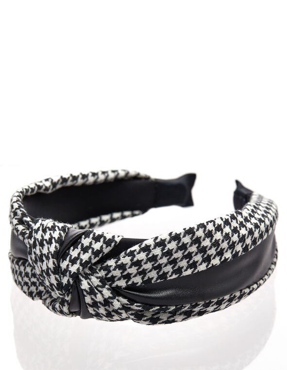 Houndstooth Top Knot Headband, Black/White, hi-res