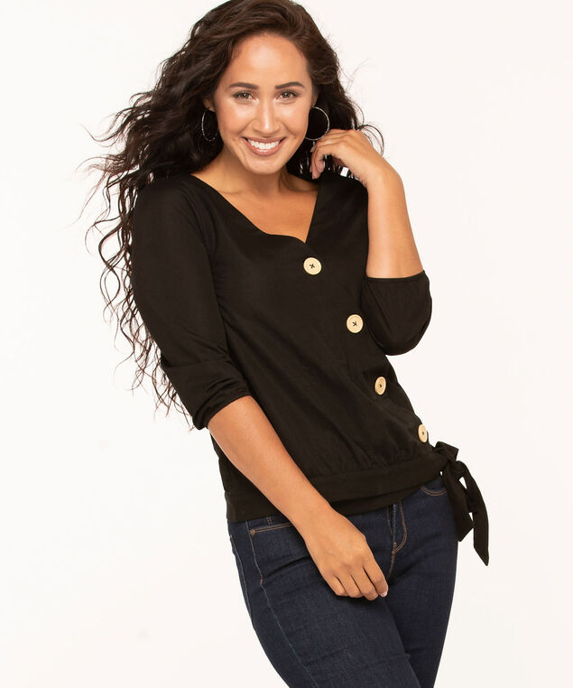 Cross Front Tie Waist Blouse, Black, hi-res