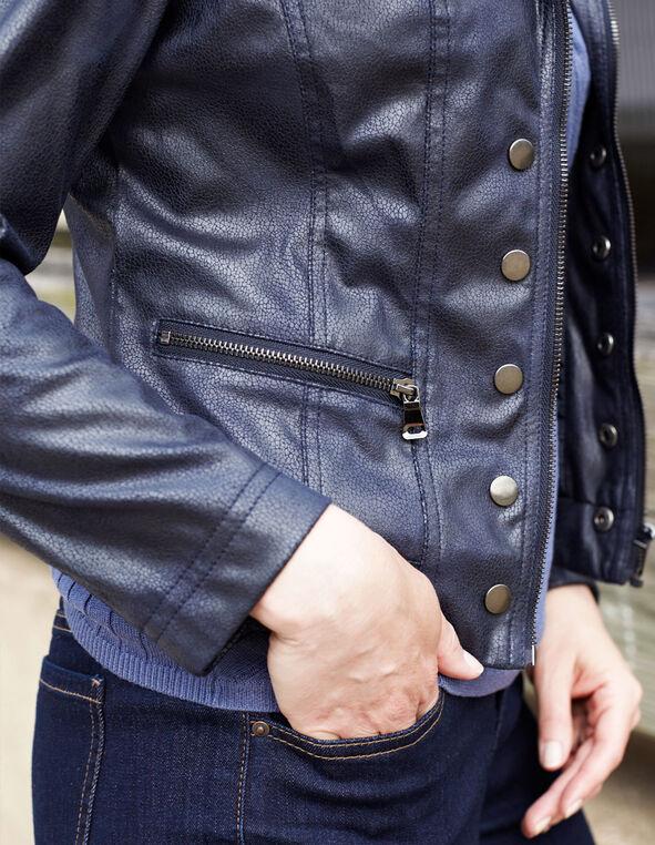 Navy Faux Textured Suede Jacket, Navy, hi-res