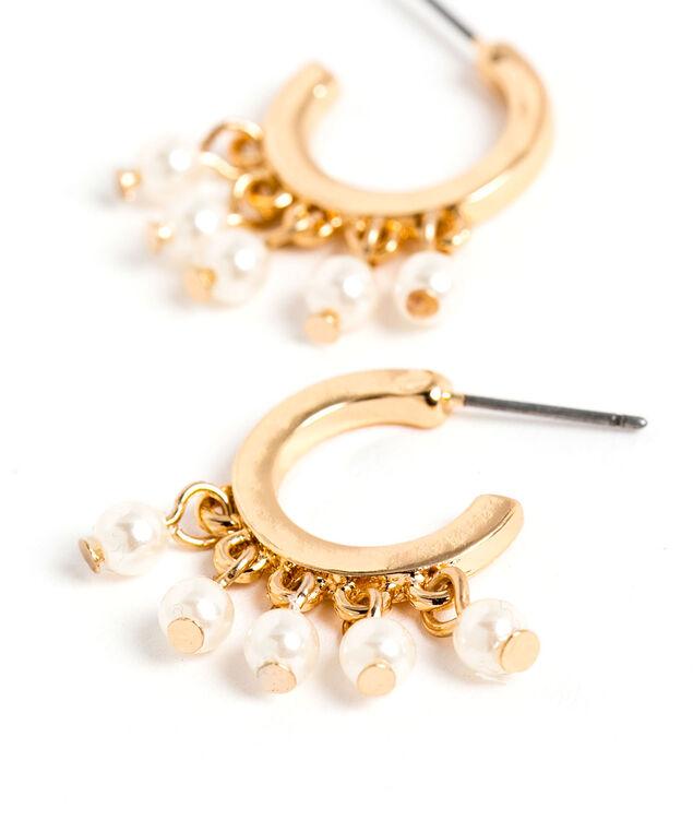 Hanging Pearl Beaded Hoop Earring, Gold