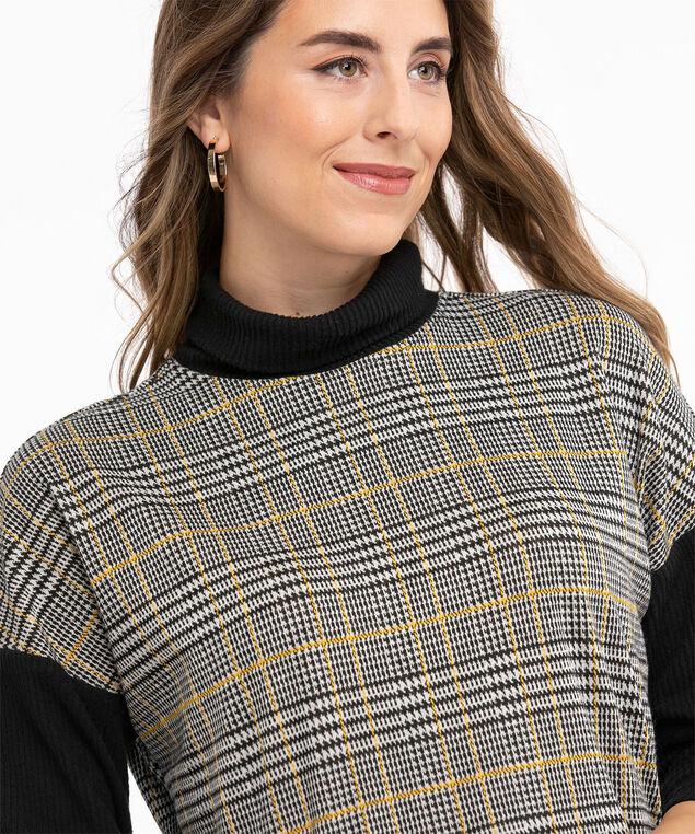 Jacquard Knit Long Sleeve Top, Ivory/Black/Ochre Plaid