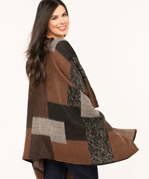 Brown Patchwork Zip-Front Poncho, Brown/Black/Grey, hi-res