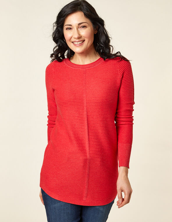 Ottoman Stitch Sweater, Orange/Cajun, hi-res