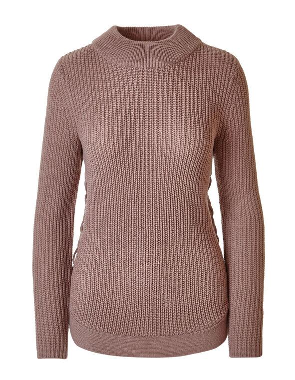 Light Plum Rib Knit Turtleneck Sweater, Light Plum, hi-res