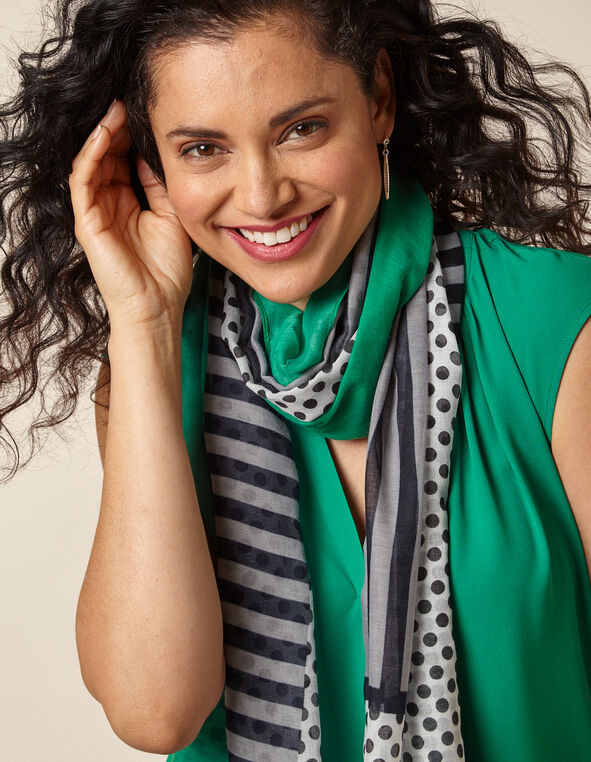 Emerald Dot & Stripe Scarf, Green/Emerald, hi-res