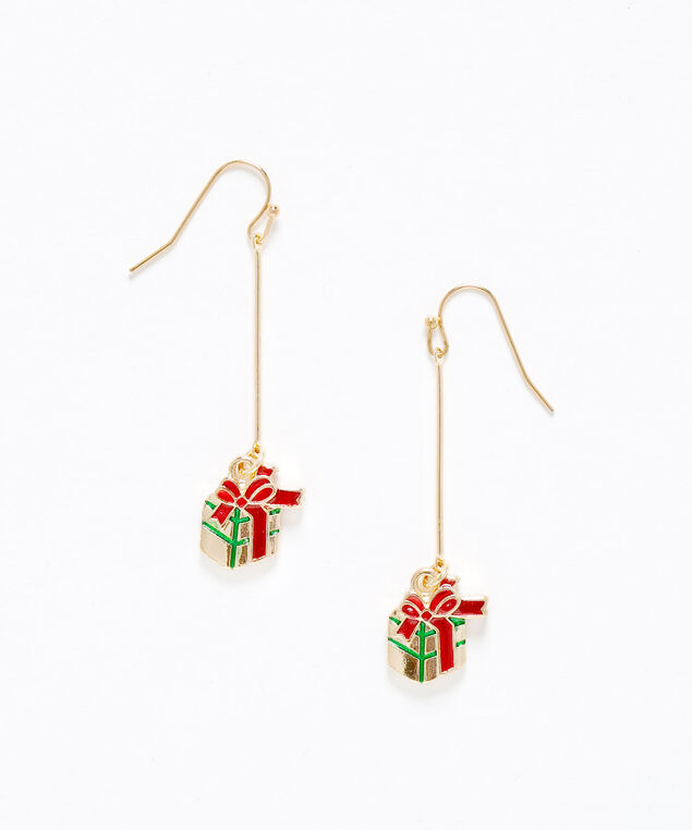 Gold Gift Box Drop Earring, Gold/Red, hi-res