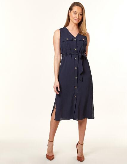 Navy Textured Safari Dress, Navy, hi-res