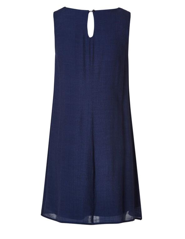 Navy Embroidered Gauze Dress, Navy, hi-res