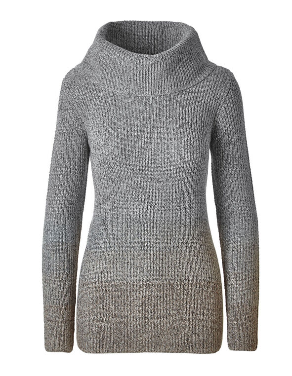 Grey Ombre Lurex Sweater, Grey, hi-res