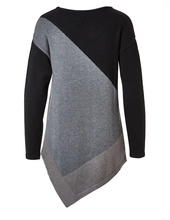 Black Asymmetrical Tunic Sweater, Black, hi-res