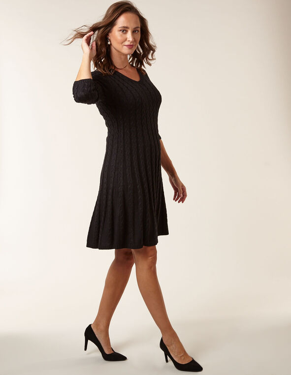 Black Cable Knit Sweater Dress, Black, hi-res