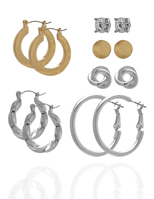 Silver & Gold 6-Pack Earring Set, Silver/Gold, hi-res