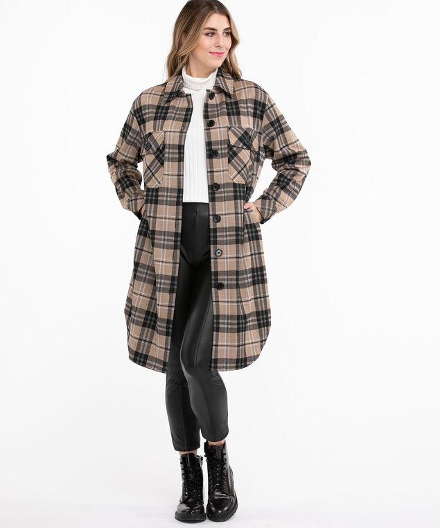 Long Jacquard Knit Shacket, Light Brown/Black Plaid