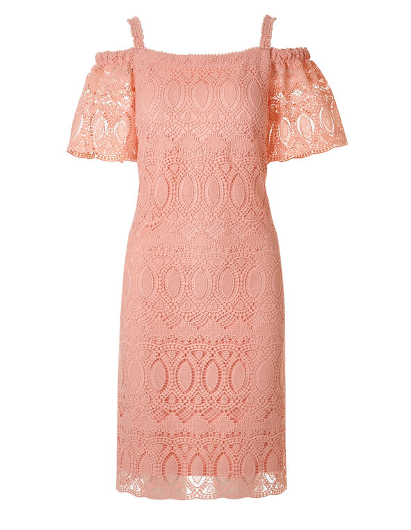 Light Coral Lace Shift Dress, Light Coral, hi-res
