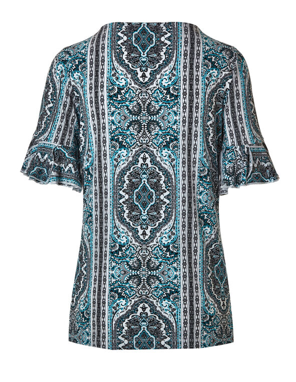 Turquoise Ornate Printed Top, Turquoise/Grey, hi-res